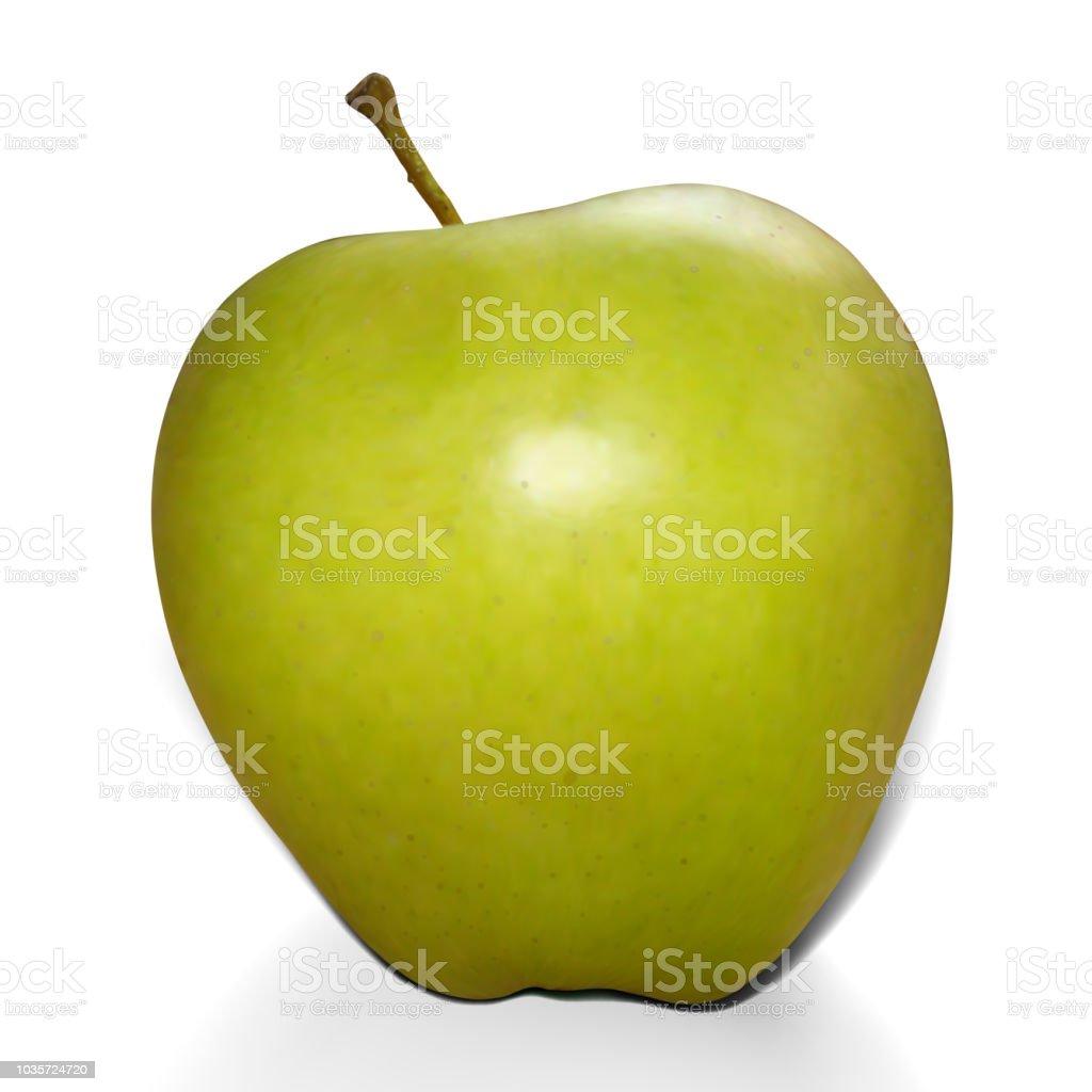 Realistic mesh green apple vector art illustration
