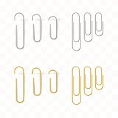 Realistic metal and gold paper clips set. Isolated and attached. Vector illustration in transparent technique