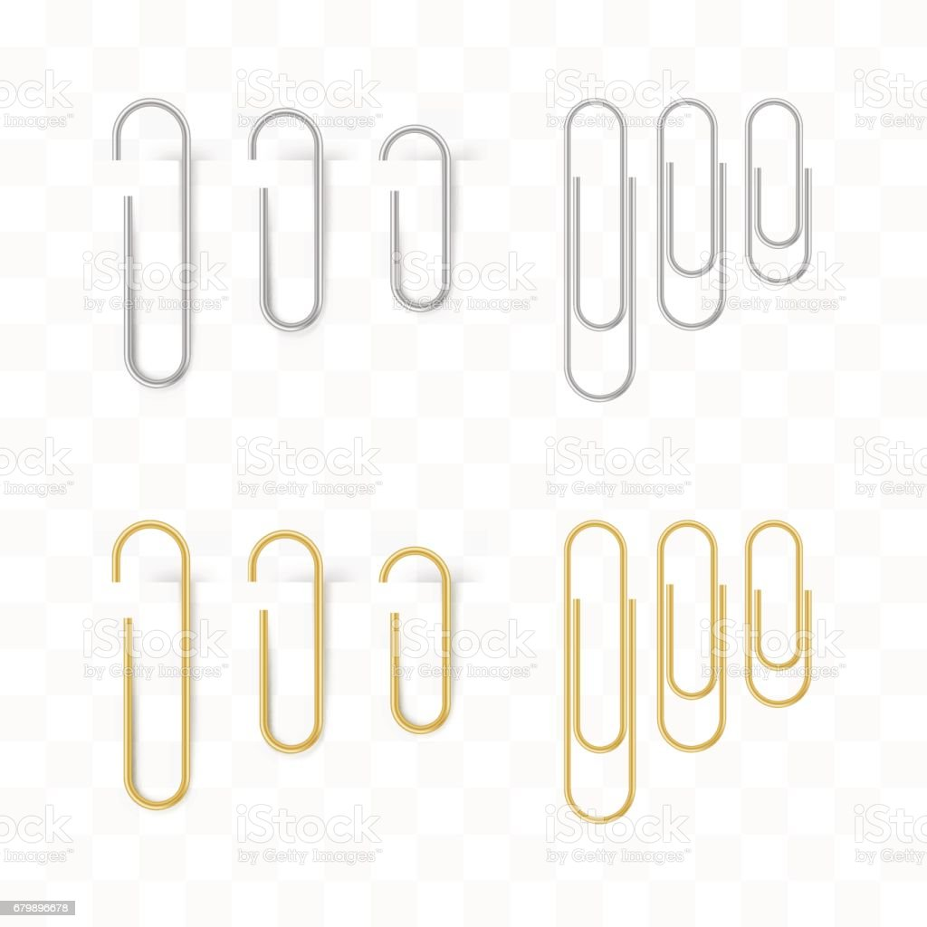Realistic metal and gold paper clips set. Isolated and attached vector art illustration