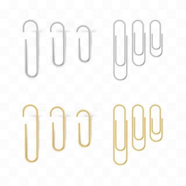 현실적인 금속과 금색 종이 클립 설정합니다. 절연 및 연결 - 종이 클립 stock illustrations