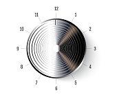Realistic Metal Button Icon. Chrome volume knob. Vector