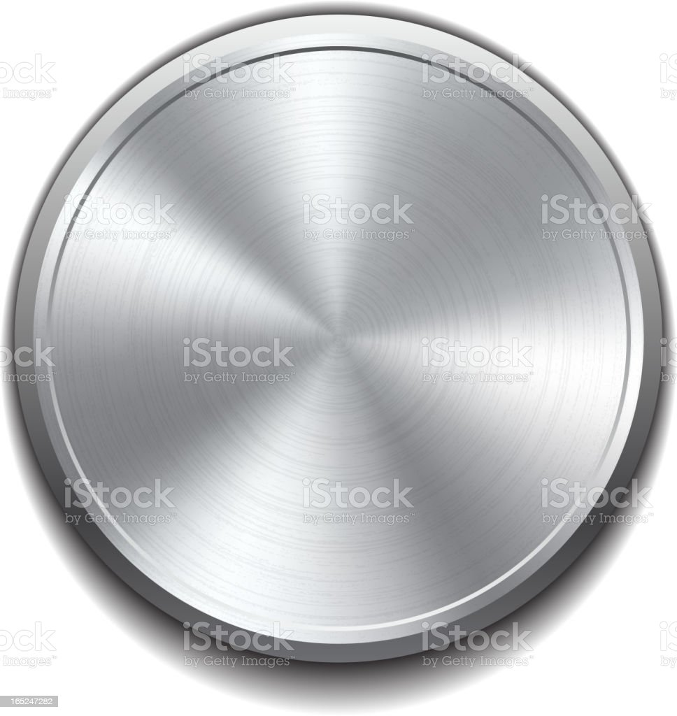 A realistic metal button on a white background royalty-free stock vector art