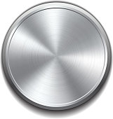 A realistic metal button on a white background