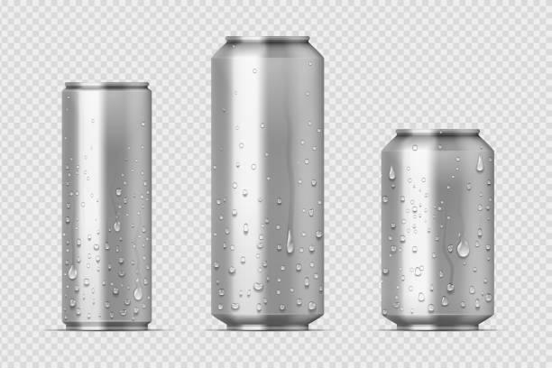 ilustrações de stock, clip art, desenhos animados e ícones de realistic metal cans. aluminum bear soda and lemonade cans with water drops, energy drink mockup. vector isolated set - latão