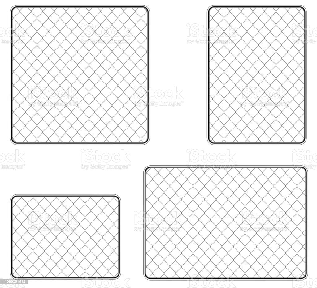 Realistic metal chain link fence. Art design gate. Prison barrier, secured property.  The chain link of fence wire mesh steel metal. Rabitz. vector art illustration