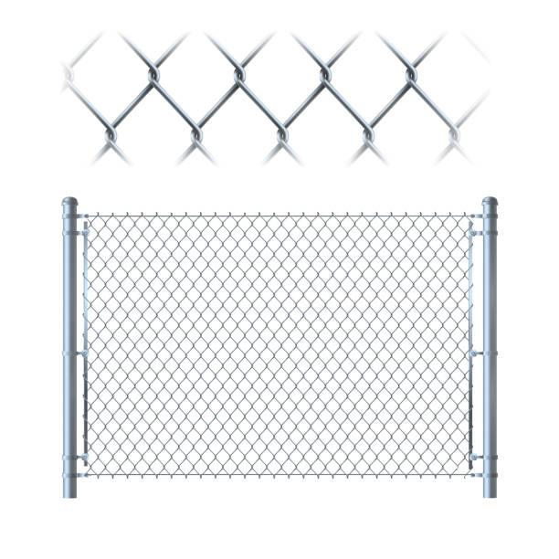 stockillustraties, clipart, cartoons en iconen met realistische metalen ketting link hek. metalen gaas op geïsoleerde op witte achtergrond. - fence