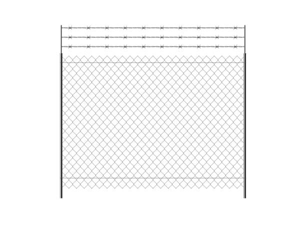 Realistic metal chain link fence. vector art illustration