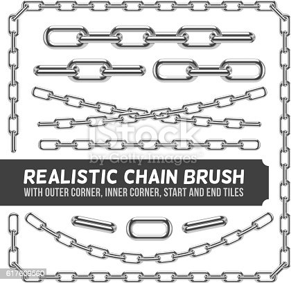 Realistic metal chain set, vector silver chains. Industrial link and metallic strength line illustration