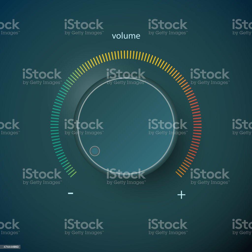 Realistic metal control panel tumbler. Music audio sound volume knob vector art illustration