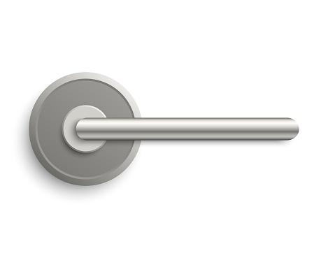 Realistic metal door handle isolated on white background