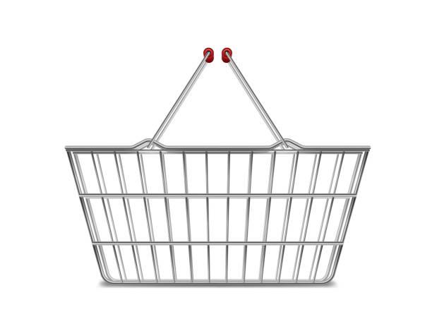 stockillustraties, clipart, cartoons en iconen met realistische metalen lege supermarkt winkelen mand zijaanzicht op wit wordt geïsoleerd. mand markt kar te koop met handvatten. vectorillustratie - mand