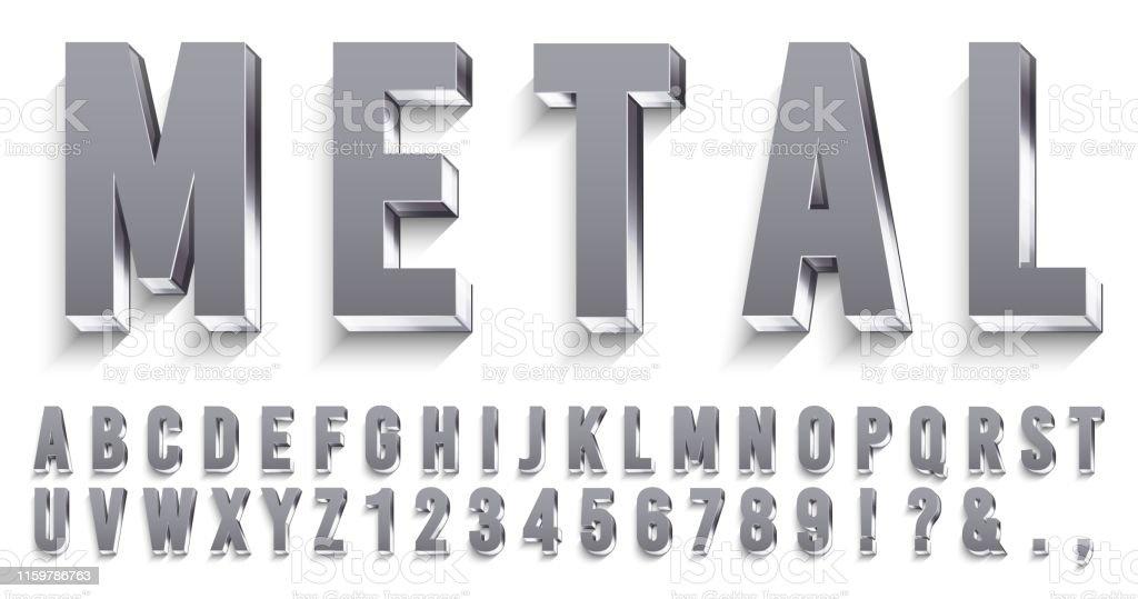 Realistische Metall-Schriftart. Glänzende metallische Buchstaben mit Schatten, Chromtext und Metallen Alphabet 3D Vektor-Set - Lizenzfrei Alphabet Vektorgrafik