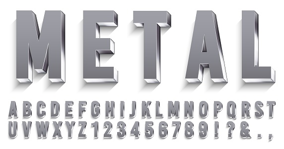 Realistic metal font. Shiny metallic letters with shadows, chrome text and metals alphabet 3D vector set