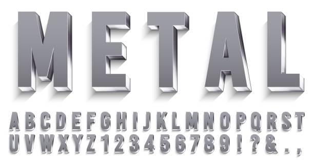 Realistic metal font. Shiny metallic letters with shadows, chrome text and metals alphabet 3D vector set Realistic metal font. Shiny metallic letters with shadows, chrome text and metals alphabet. Credit cards steel abc and numbers, futuristic iron font. 3D vector isolated symbols set three dimensional stock illustrations