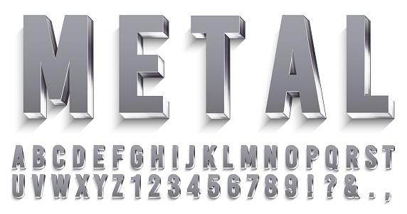 Realistische Metallschriftart Glänzende Metallische Buchstaben Mit Schatten Chromtext Und Metallen Alphabet 3d Vektorset Stock Vektor Art und mehr Bilder von Alphabet