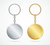 Realistic Template Metal Keychains Set Golden and Silver Circle Shape. Vector illustration