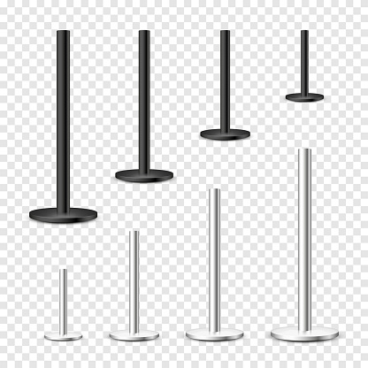 Realistic metal poles collection isolated on transparent background. Glossy steel pipes of various diameters. Billboard or advertising banner mount, holder. Vector illustration