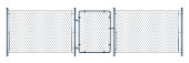 Realistic metal wire fence and gate   detailed illustration isolated on white background.