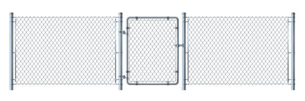 stockillustraties, clipart, cartoons en iconen met realistische metalen draad hek en poort gedetailleerde illustratie geïsoleerd op een witte achtergrond. - fence