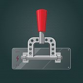 Metallic knife switch with a red handle. Isolated vector illustration
