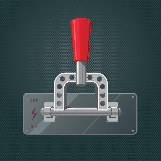 ilustraciones, imágenes clip art, dibujos animados e iconos de stock de realista metall interruptor. pestillo aislado rojo - interruptor