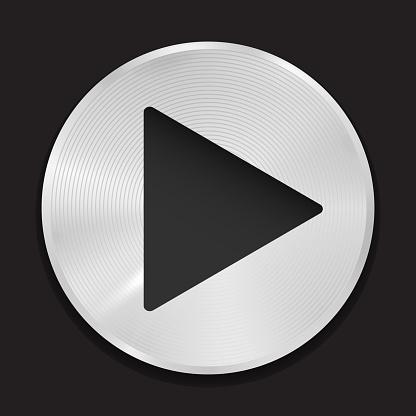 Realistic Metallic Play Button Vector Icon