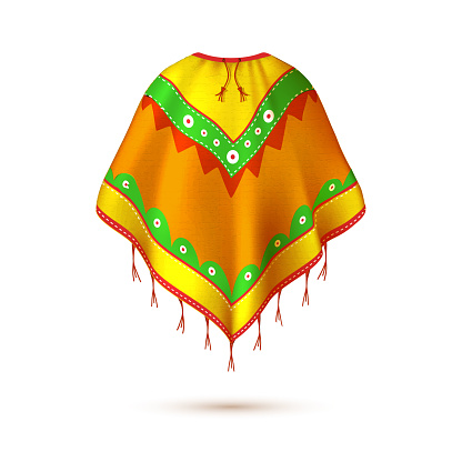Realistic mexican, native american indian poncho.