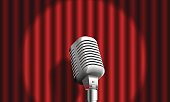 realistic Microphone on curtain