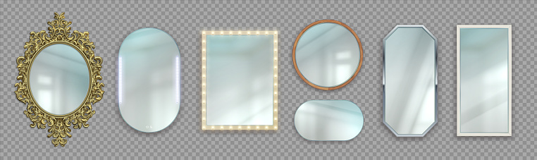 Realistic mirrors. 3D round and rectangular reflective surfaces. Modern or classic and decorative vintage frames. Framework with light bulbs. Vector interior furniture set on transparent background