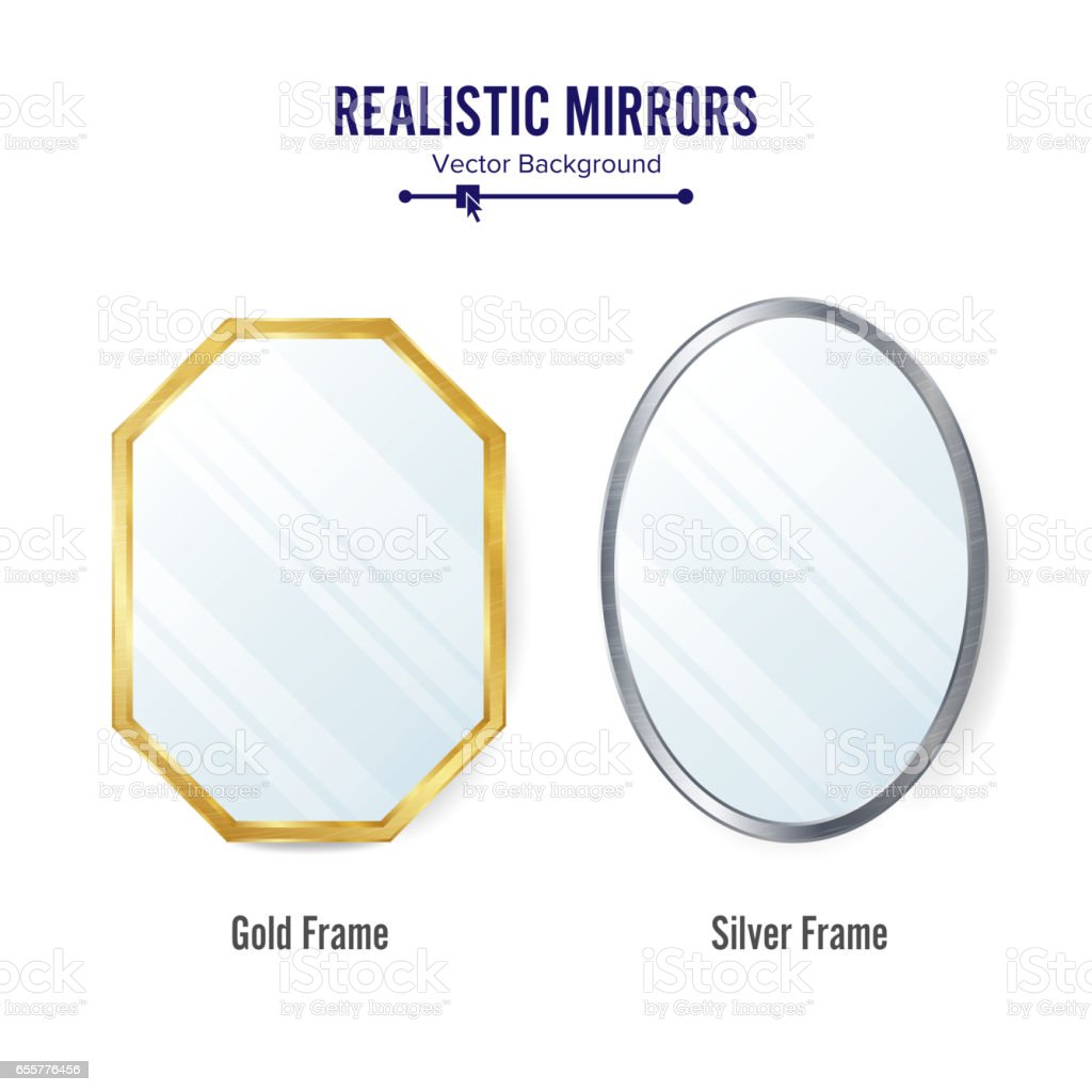 Realistic Mirrors Set Vector. Mirror Frames Or Mirror Decor Interior Illustration vector art illustration
