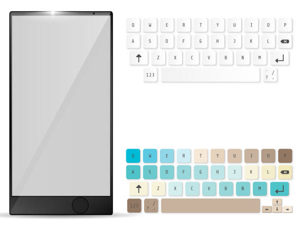Realistic Mobile and mobile keyboard. Keypad template. Vector illustration vector art illustration