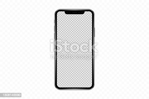 istock Realistic mobile phone mockup, template. Isolated stock vector 1308145590
