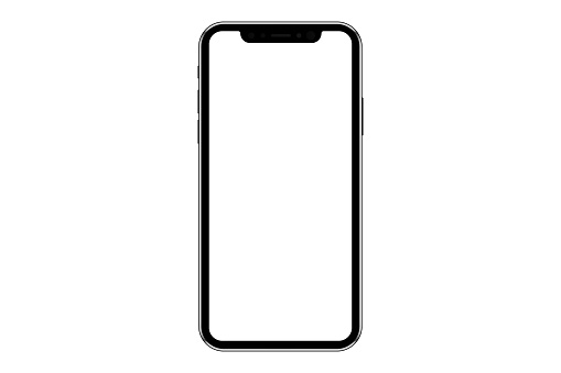 Realistic mobile phone mockup, template. Isolated stock vector