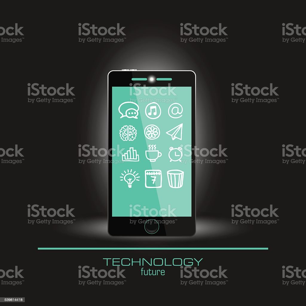 Realistic mobile phone set business icons vector art illustration