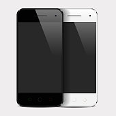 Realistic smartphone template with blank screen isolated on white(white and black variation). Eps10 vector illustration. High resolution jpeg file included(300dpi).