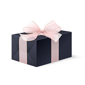 Realistic Mock up black locked box with bow.