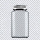 istock Realistic mock up glass bottles for drugs, tablets. 3d Plastic blank medical containers isolated on transparent background. Vector illustration 1224519943