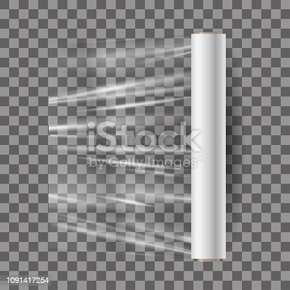 Realistic mock up of transparent plastic food membrane in roll, film for food and goods. Template, 3d layout, mockup, empty polythene membrane, film. Vector illustration on transparent background.