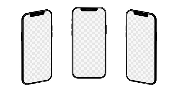 Realistic mockup of iPhone 12, rotated in 3D projection with a blank screen. Vector phone mockup on isolated background for your design. Stock illustration EPS 10