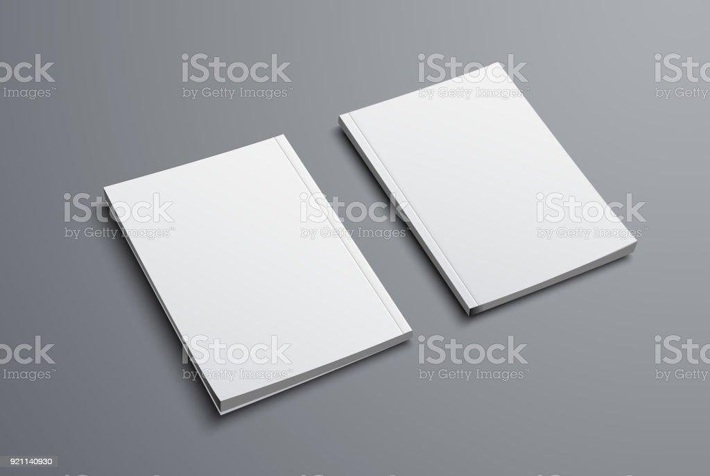 realistische Nachbildung der zwei Broschüren mit vorderes und hinteres Deckblatt. – Vektorgrafik