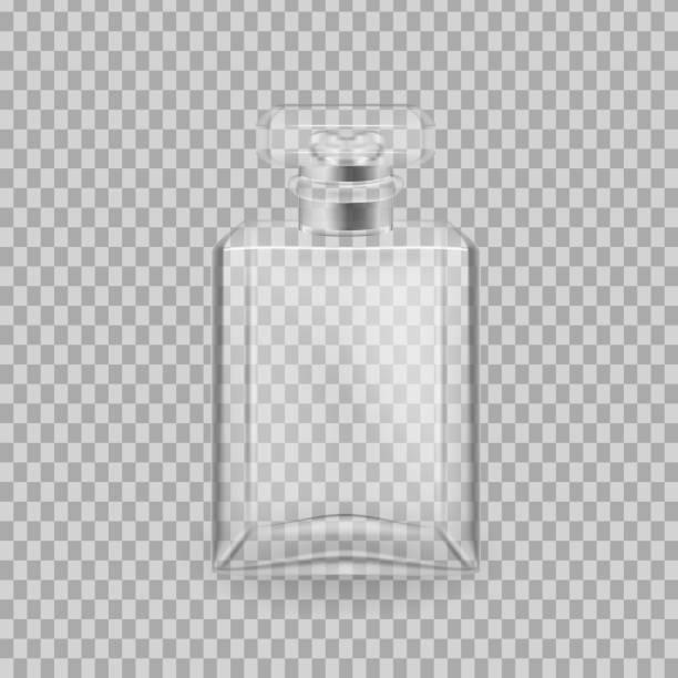 illustrazioni stock, clip art, cartoni animati e icone di tendenza di realistic mock-up, template of flacon spray for freshness - profumi spray