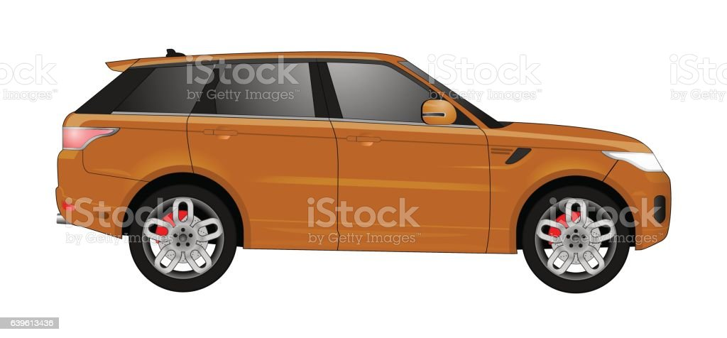 Realistic model car isolated on background. Detailed drawing. Vector illustration. vector art illustration