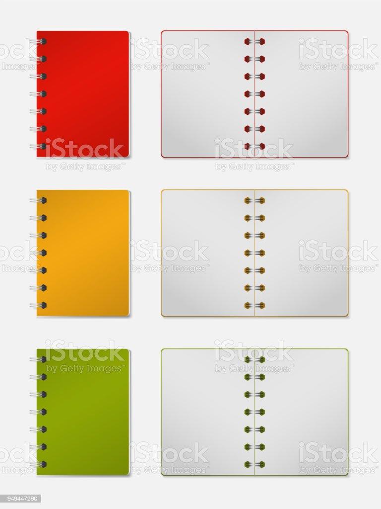 Realistisches 3dmodell Notebook Mit Festem Einband Vertikale ...
