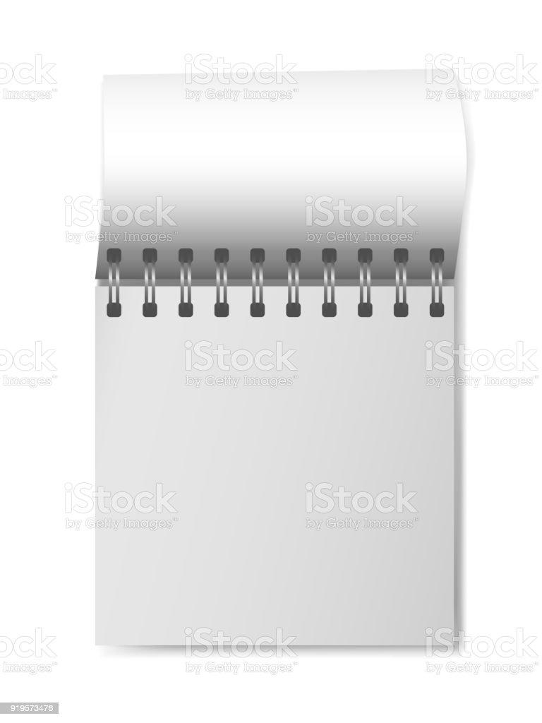 Realistisches 3D-Modell geöffnet Flip-flop Kalender. Quadratische Organizer mit leeren Seite. Vorlage von Notepad oder Tagebuch isoliert auf weißem Hintergrund. Mock-up des leeren Kalender mit Silber Spirale – Vektorgrafik