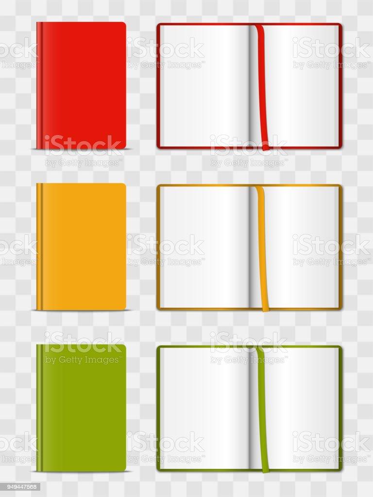Realistisches 3dmodell Geöffnet Und Geschlossen Farbe Notebook ...