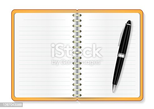 istock Realistic model opened notebook with a pen 1267043388