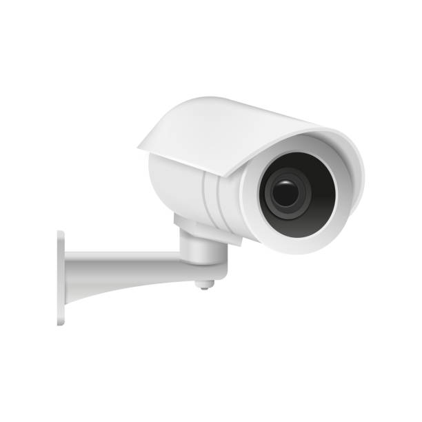 realistische moderne cctv kamera isoliert auf weißem hintergrund. vektor-illustration. - infrarotfotografie stock-grafiken, -clipart, -cartoons und -symbole