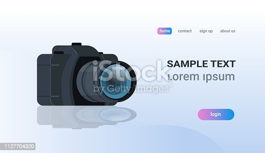 realistic modern DSLR photo camera copy space flat vector illustration