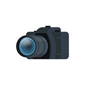 realistic modern DSLR photo camera isolated flat vector illustration