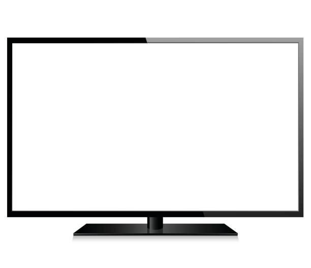 realistische moderne tv - bildschirme stock-grafiken, -clipart, -cartoons und -symbole